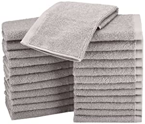 AmazonBasics Washcloth - Pack of 24, Grey