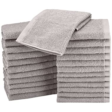 AmazonBasics Terry Cotton Washcloths - Pack of 24, Grey