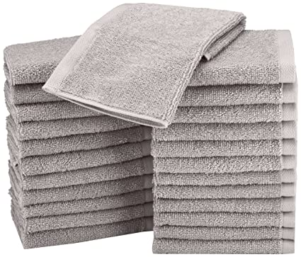 AmazonBasics Cotton Washcloth/Face Towel - Pack of 24, Grey