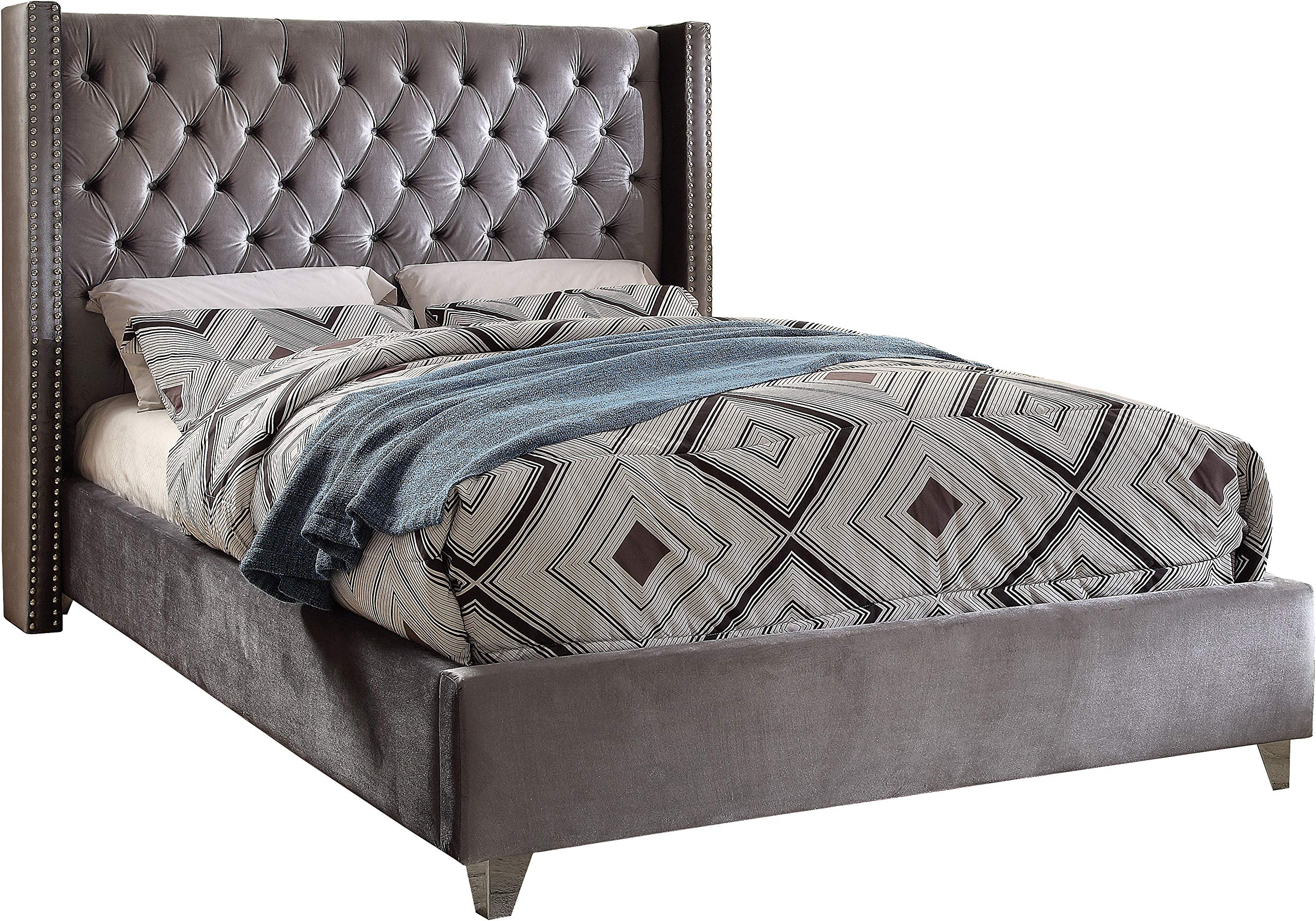 Meridian Furniture Aiden Collection Velvet Upholstered Button Tufted Wingback Bed Nailhead Trim and Custom Chrome Legs, 72'' W x 86'' D x 56'' H, Queen, Grey by Meridian Furniture