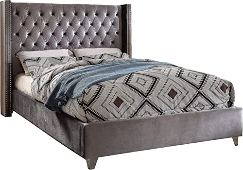 Meridian Furniture Aiden Collection Modern Contemporary Grey Velvet Upholstered Bed with Deep Button Tufting, Solid Wood Frame, and Custom Chrome Legs, King