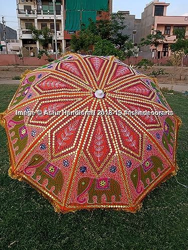 Asha Handicraft Indian Hippie Elephant Embroidery Garden Umbrella Parasol