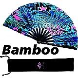 Fansay Fans - Large Bamboo Rave Festival Hand Fan for Women/Men - Big Folding Fan W/Velvet Bag - Festival Clothing, Rave…