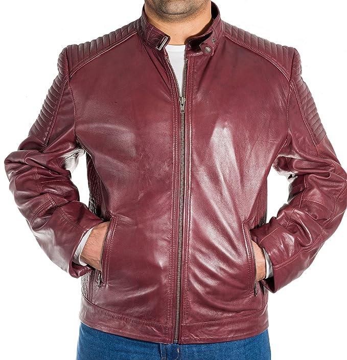 A to Z Leather Chaqueta de Piel de Cordero Real Italiana para la Chaqueta de Moto Retro Hombres: Amazon.es: Ropa y accesorios
