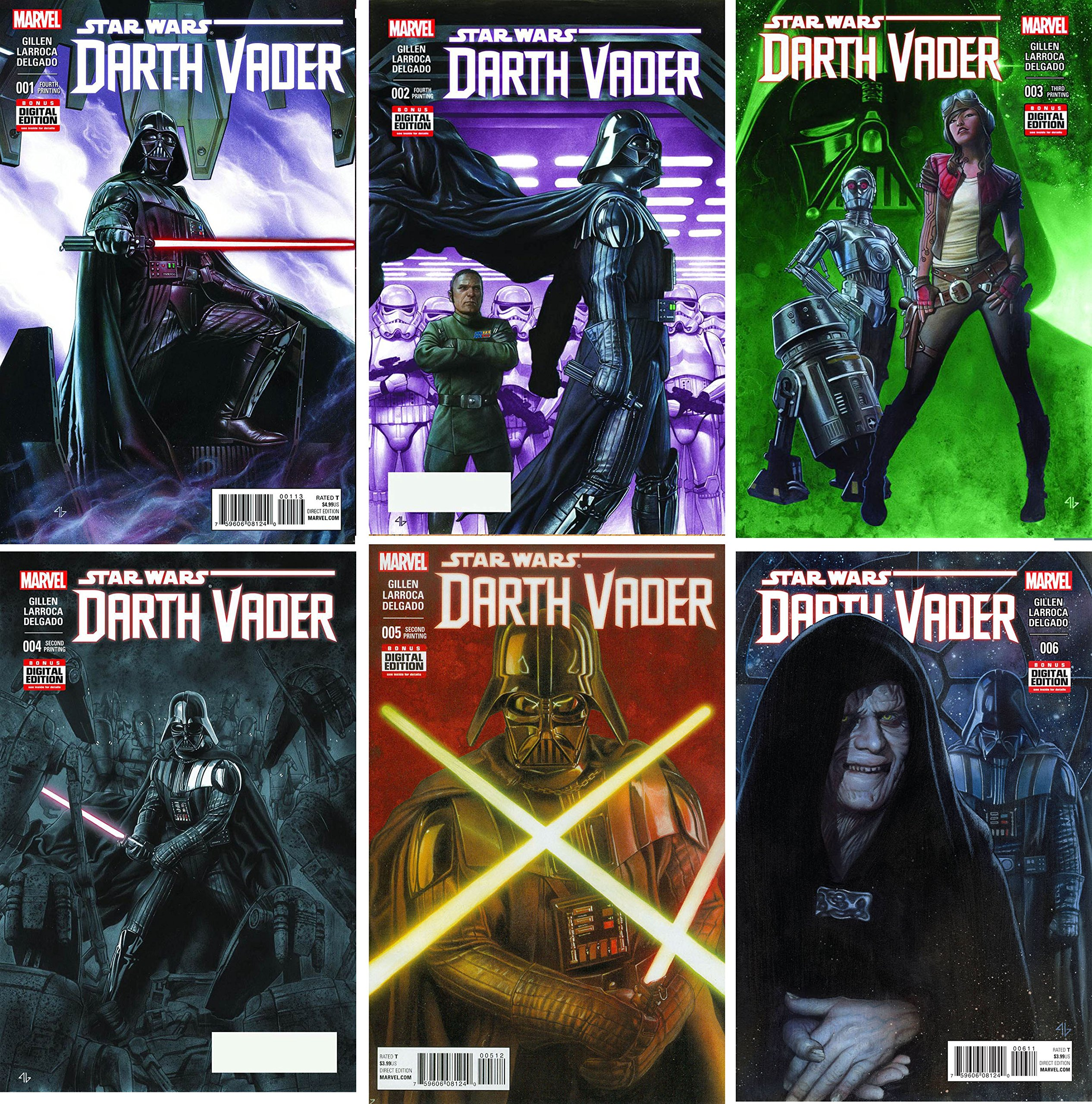 Star Wars Darth Vader Issue 1 6 Set Bundle Of Six 6 2015 Marvel Comics 0643597586955 Salvador Larroca Kieron Gillen Books