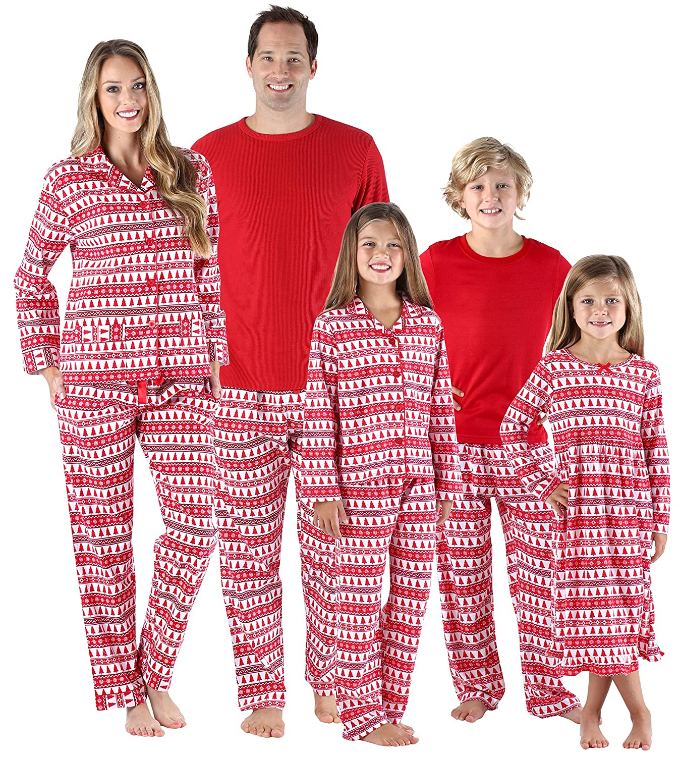SleepytimePjs Holiday Family Matching Red Trees Flannel PJs Sets for The Family