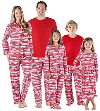 c2b138e48c SleepytimePjs Holiday Family Matching Red Trees Flannel PJs Sets for The  Family Women s Lounge Set (