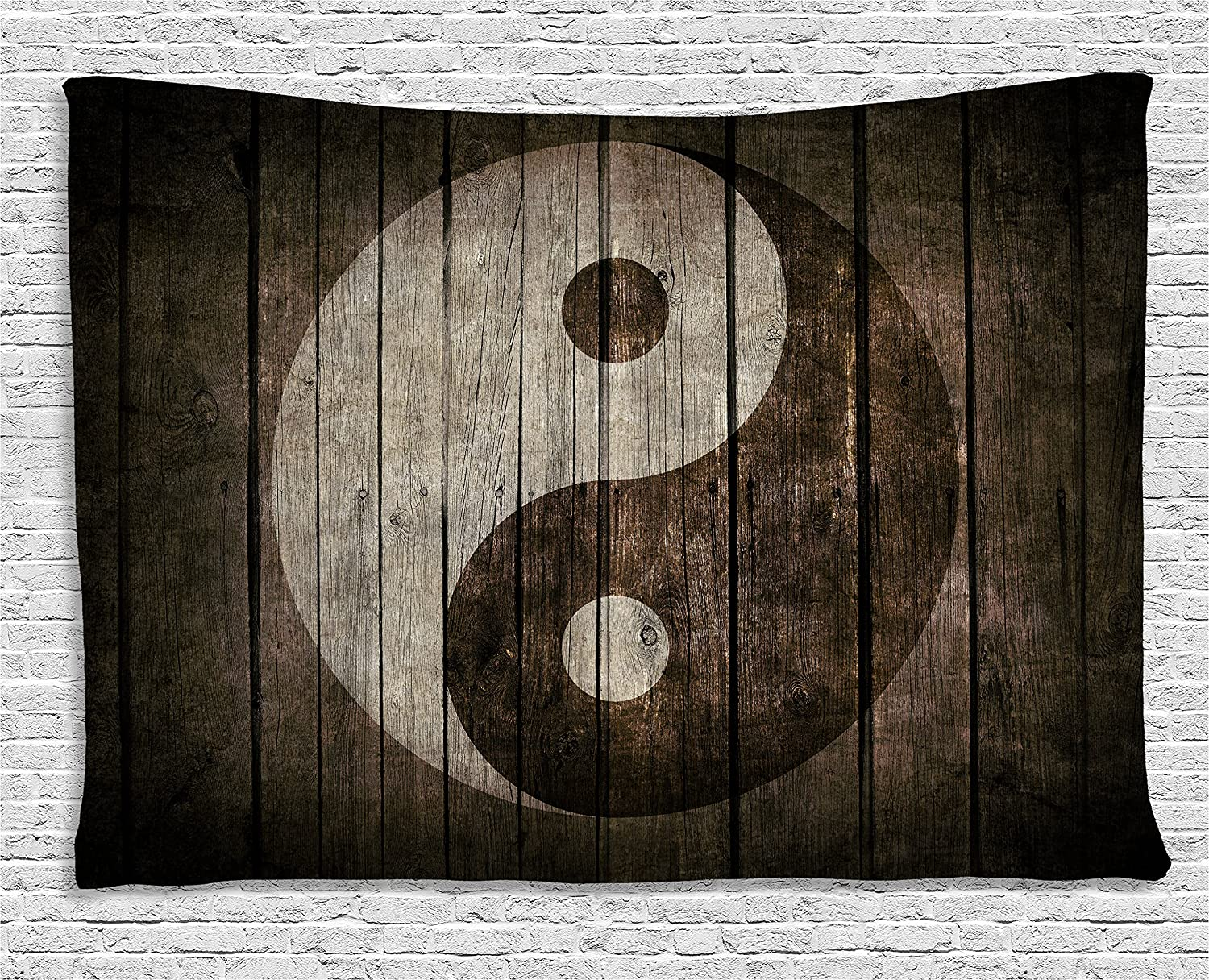 Ambesonne Ying Yang Decor Collection, Rustic Wood with Ying Yang Sign Art Grunge Design Zen Peace Balance Yoga Nature Theme, Bedroom Living Room Dorm Wall Hanging Tapestry, 60 X 40 Inches, Beige Brown wid_18582_60x40