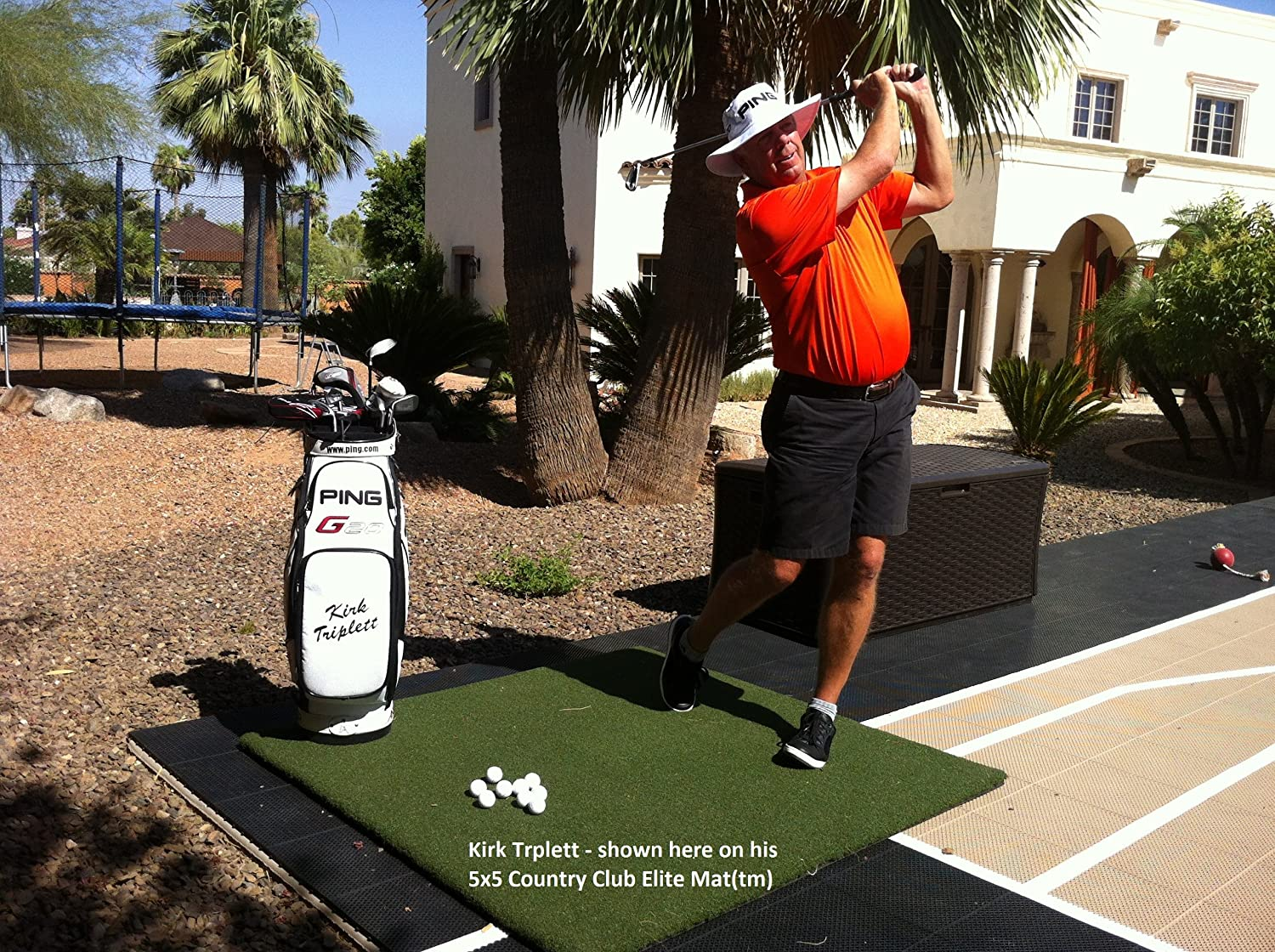 5×5 Country Club Elite Real Feel Golf Mats The First Golf Mat That Takes A Real Tee and Lets You Swing Down Through For Realistic Practice Free Adjustable Practice Tee