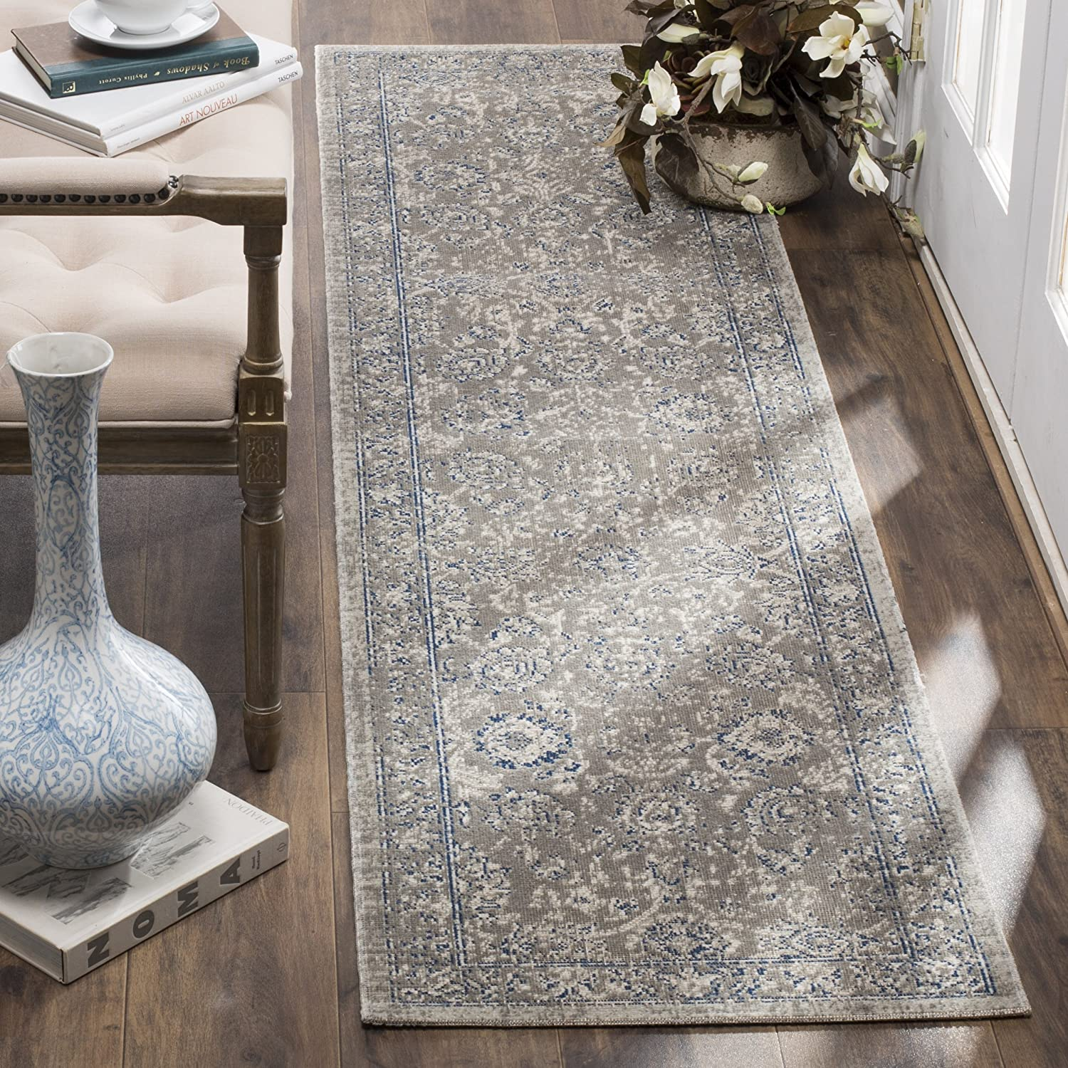 Amazon Com Safavieh Patina Collection Ptn316b Taupe And Blue Cotton Runner 2 2 X 8 Furniture Decor