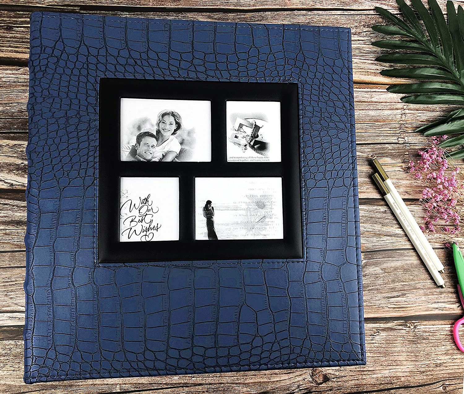 Blue, 600 Pocket RECUTMS Photo Album 4x6 600 Pockets Black Pages Large Capacity Leather Cover Wedding Family Anniversary Photo Albums