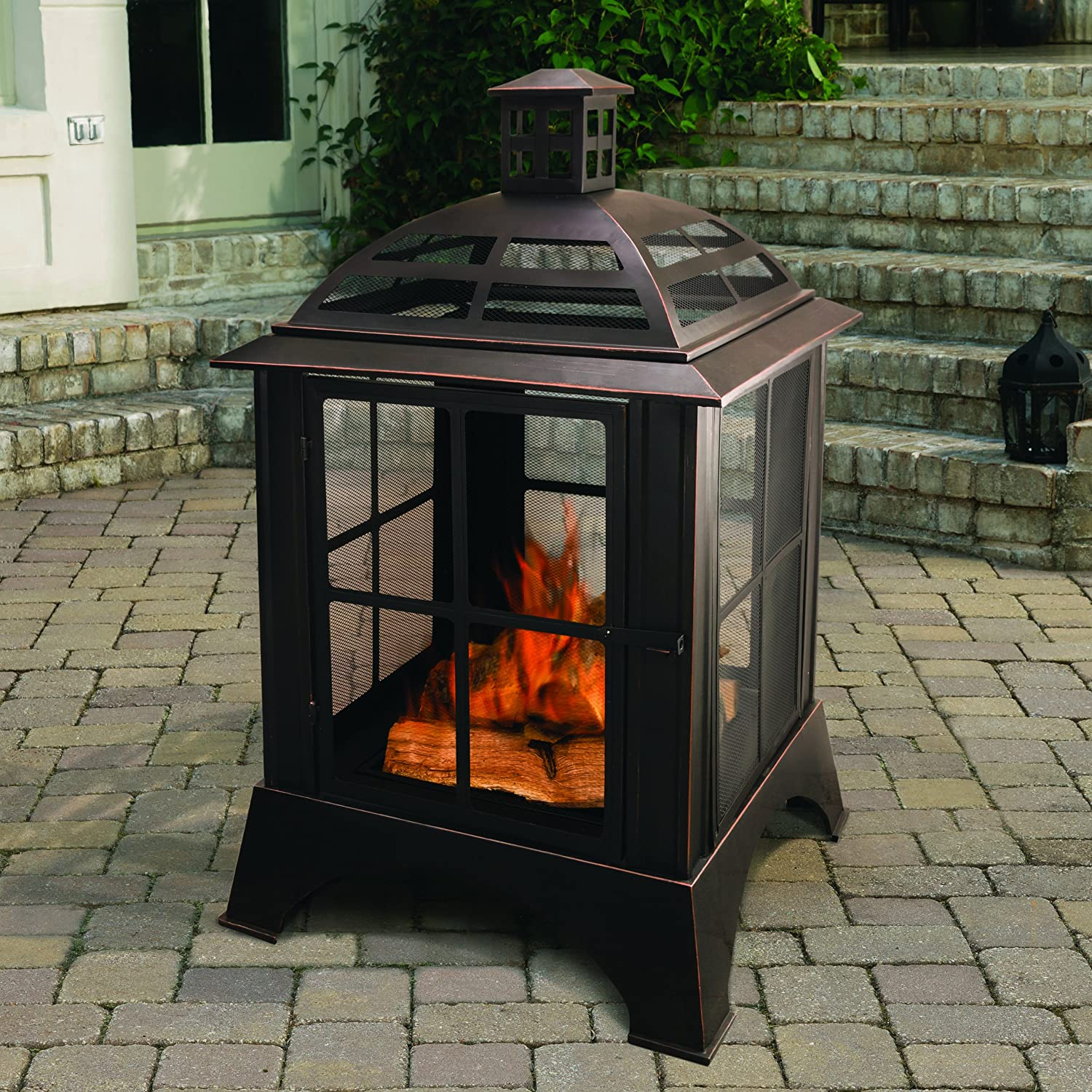amazon com pleasant hearth chesterfield outdoor fireplace wood