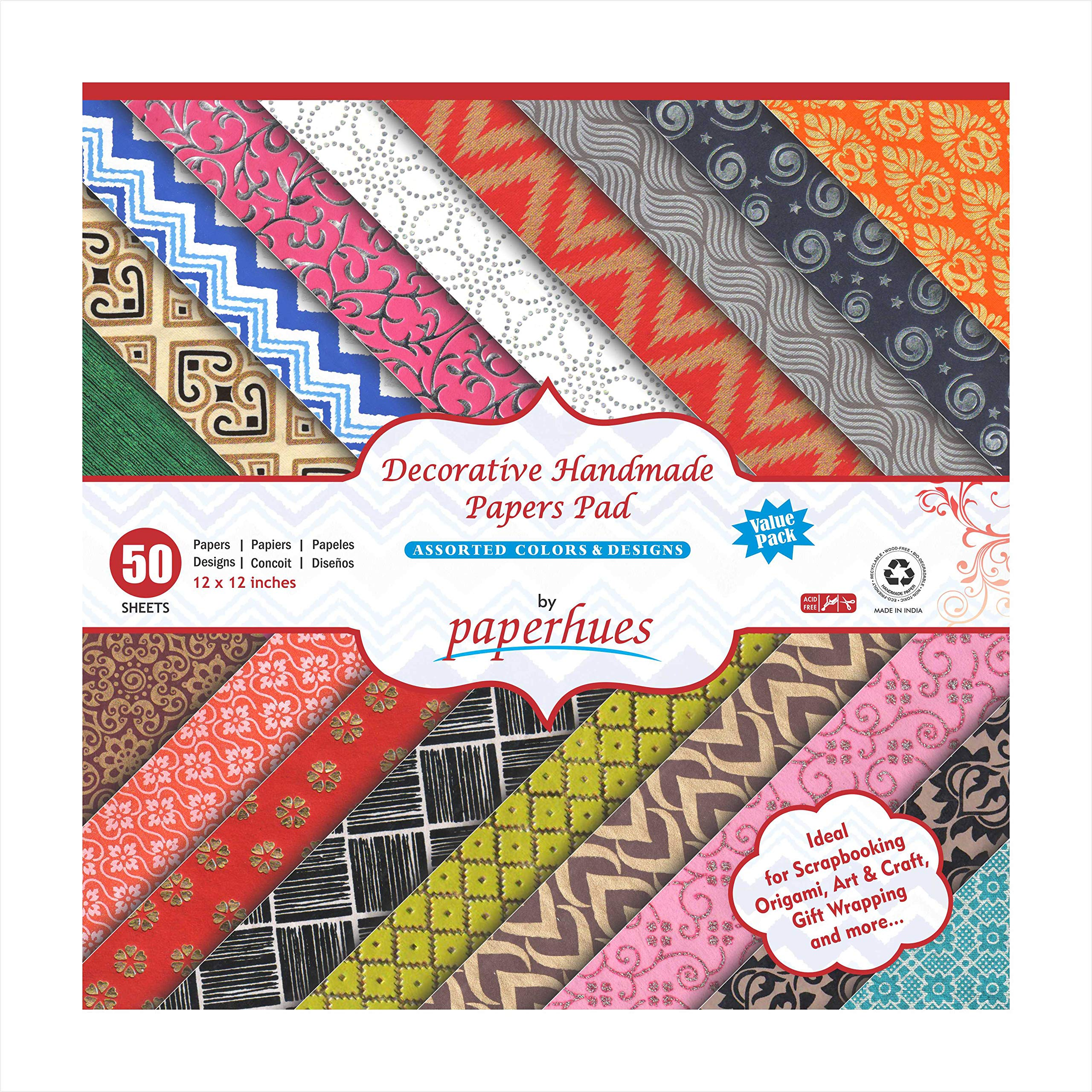 Paperhues Decorative Scrapbook Papers 12x12'' Pad, 50 Sheets. Assorted Colors by Paperhues