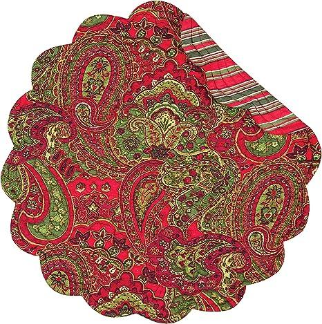 Amazon Com C F Home Gloria Round Cotton Quilted Single Cotton Reversible Machine Washable Placemat Round Placemat Multi Color Home Kitchen