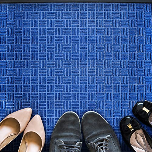 Floortex Doortex Rib Mat Heavy-Duty Indoor Outdoor Entrance Mat, 48 x 72 , Blue FR412180FPRBL