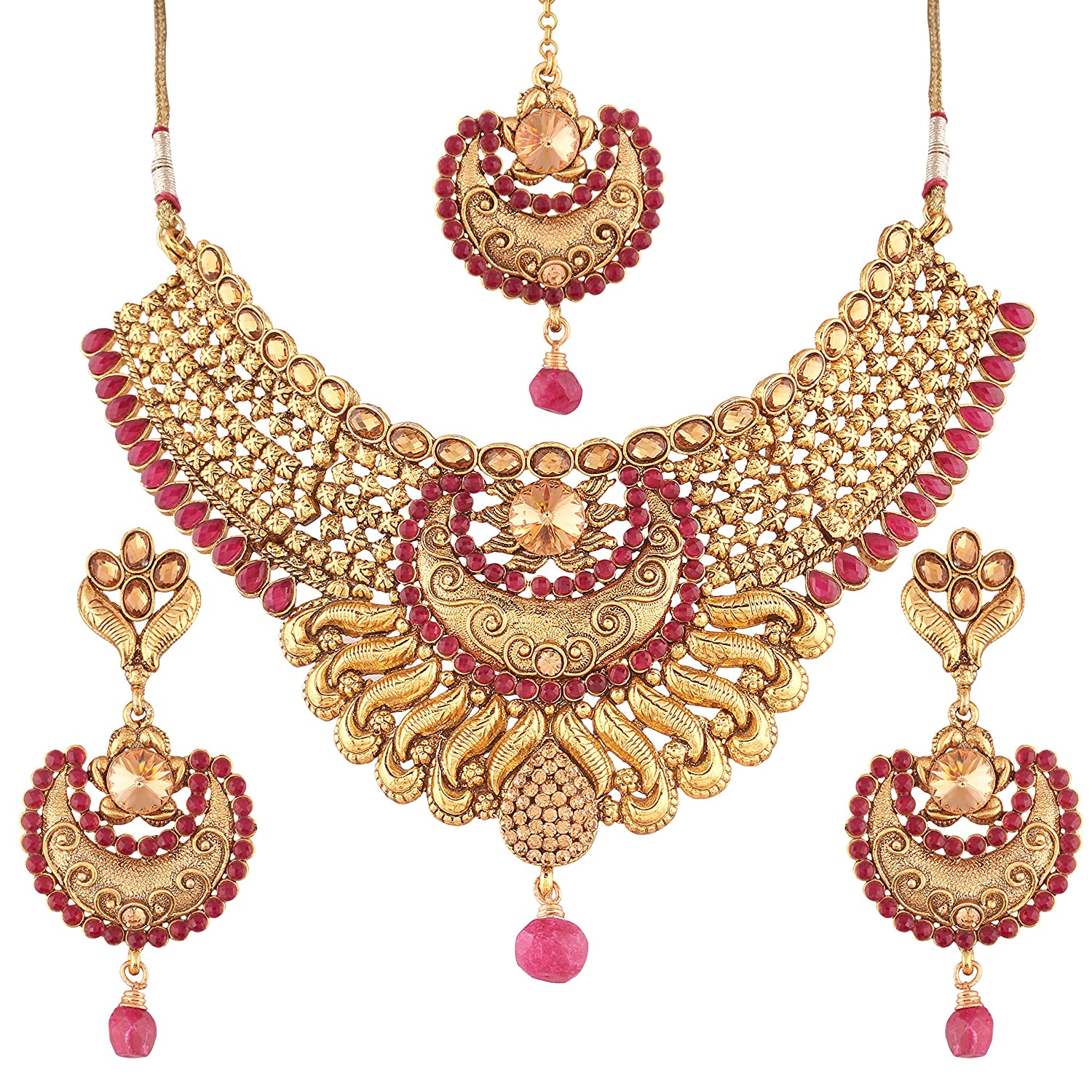 Jewelry & Watches Designer Choker Style Gold Tone Bollywood Style Jewelry Bridal Necklace Set We Take Customers As Our Gods Fashion Jewelry