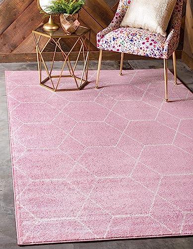 Unique Loom Trellis Frieze Collection Lattice Moroccan Geometric Modern Pink Area Rug 9 0 x 12 0