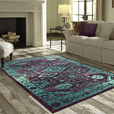 Maples Rugs Area Rug - Georgina 5 x 7 Large Area Rugs [Made in USA] for Living Room, Bedroom, and Dining Room, Winberry/Teal