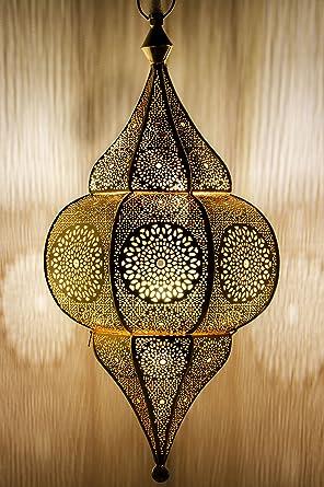 Orientalische Lampe Pendelleuchte Gold Malha 50cm E14 Lampenfassung |  Marokkanische Design Hängeleuchte Leuchte Aus Marokko | Orient Lampen Für  ...