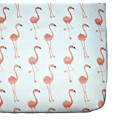Flamingos fitted crib sheet, bird nursery theme, coral baby bedding by Sprinkled With Kisses