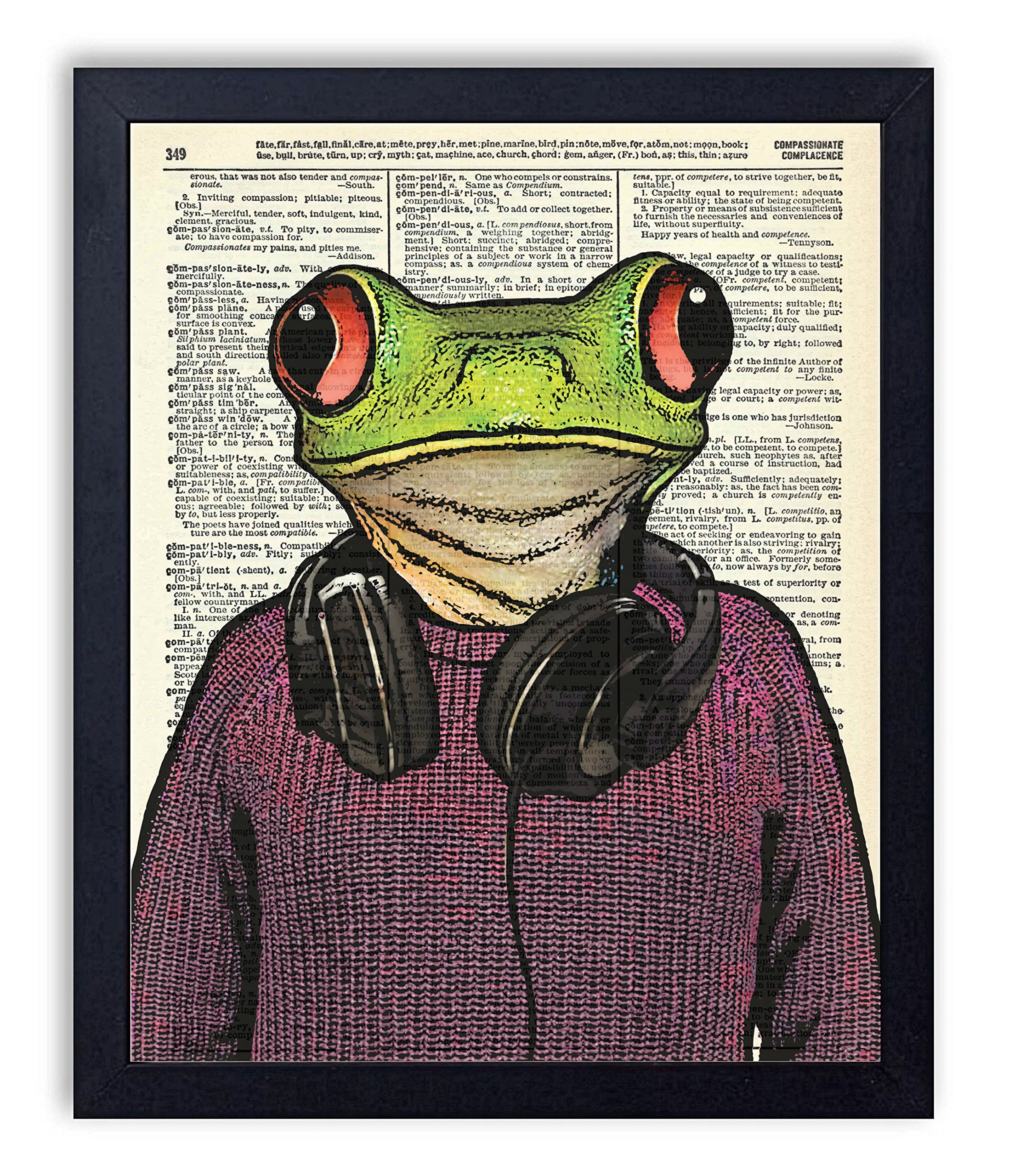 Hipster Frog Vintage Wall Art College Dorm Art Upcycled Dictionary Art Print Poster 8x10 inches, Unframed