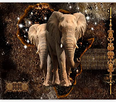 Artgeist Wall Mural Elephant Animal 116 X83 Xxl Peel And Stick Self Adhesive Wallpaper Removable Large Sticker Foil Wall Decor Print Picture Image Design Abstract Brown Gold G A 0011 A B Amazon Com
