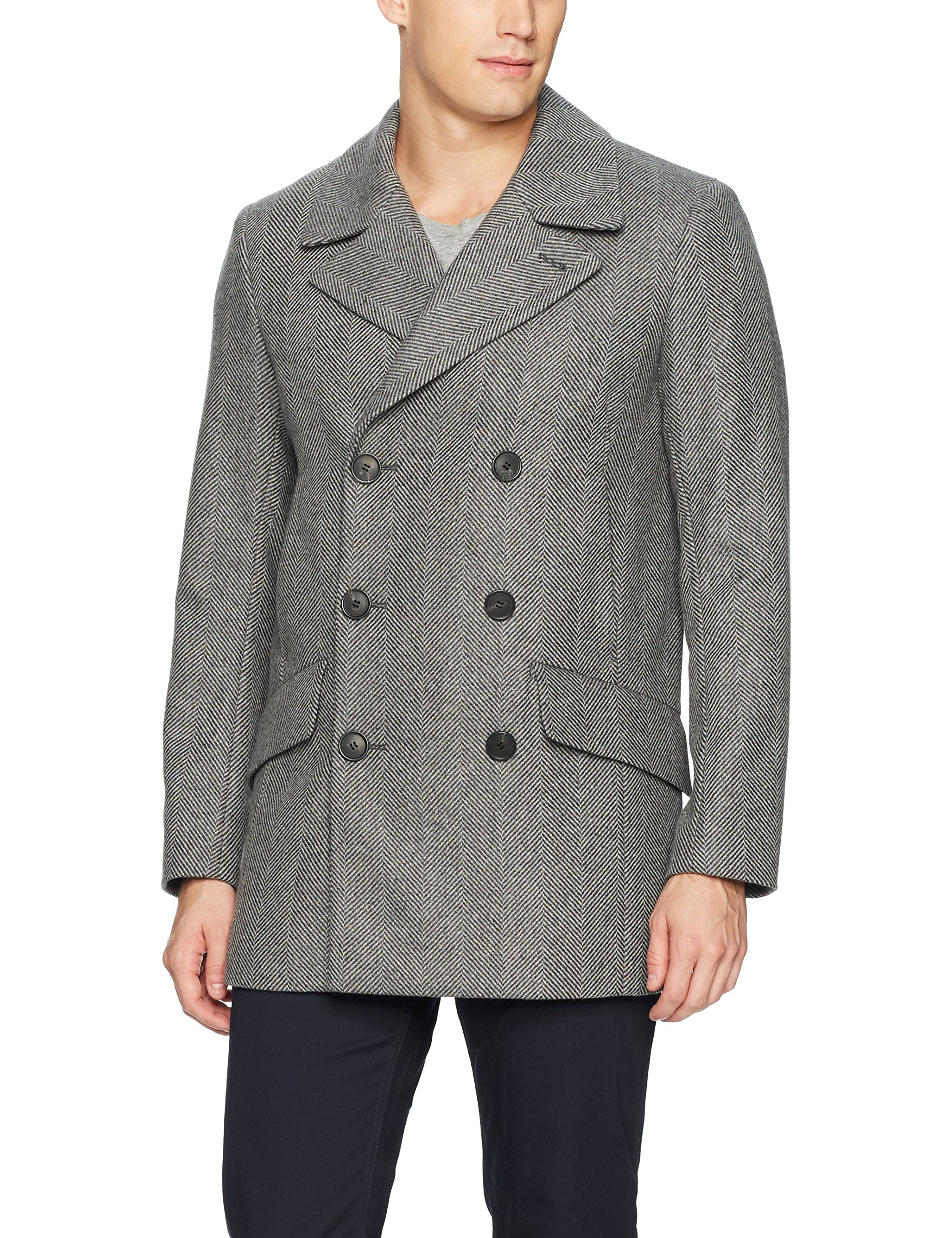 Theory Men's Doublebreasted Pea Coat, Charcoal Multi, M