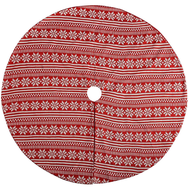 WeRChristmas–Checked Design Babbo Natale Albero di Natale Decorazione Gonna, Tessuto, Rosso/Bianco, 107cm WRC-7507