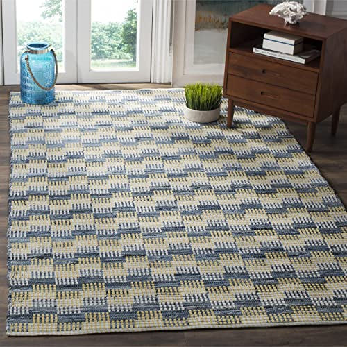 Safavieh Montauk Collection MTK121B Handmade Flatweave Gold and Multi Cotton Area Rug 5 x 8