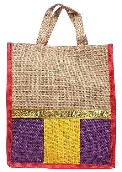 Sivakasi Wedding Cards Jute Handbag (Multi-Coloured, Large, SK_3--L