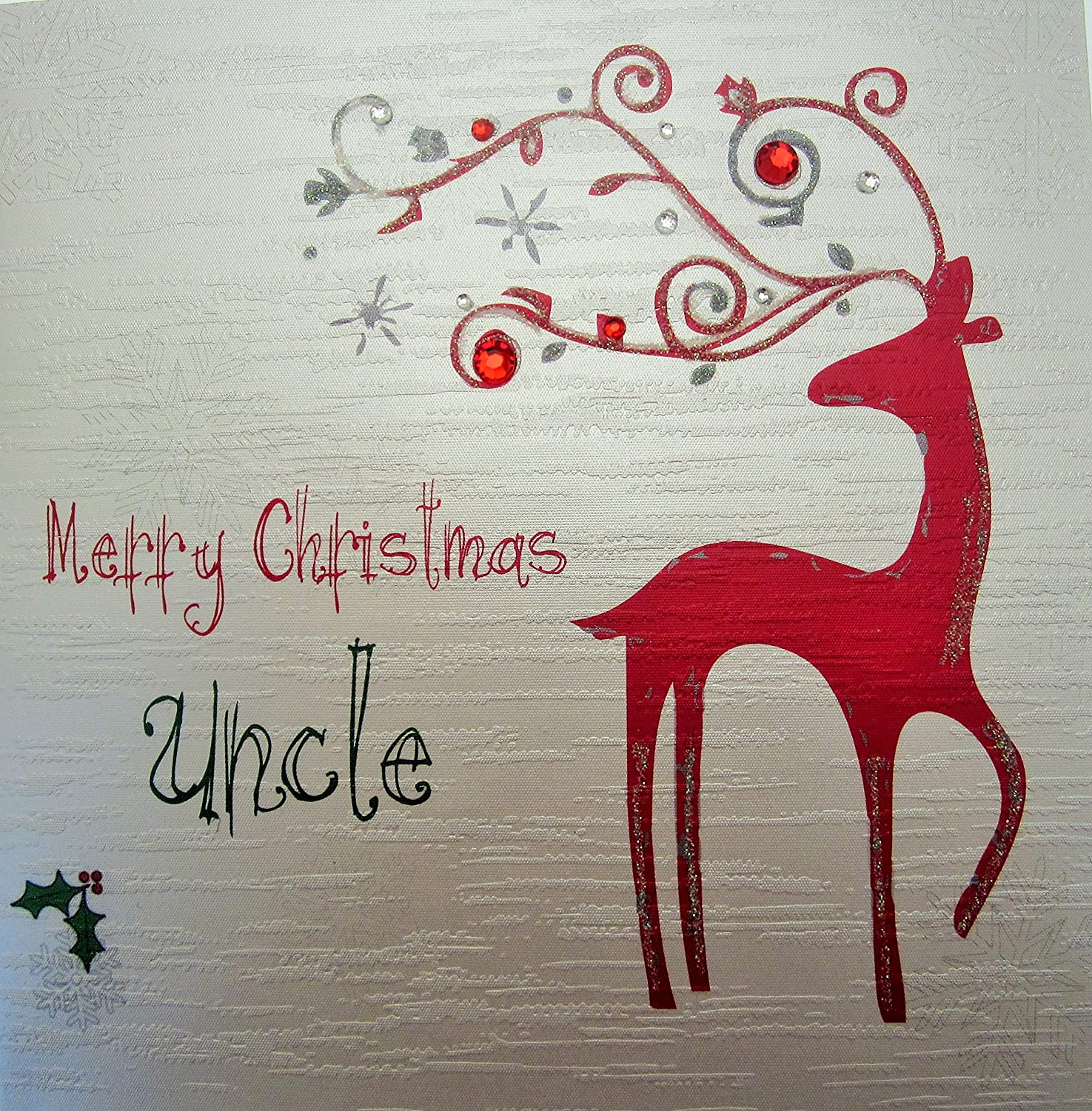 WHITE COTTON CARDS Merry Christmas Uncle Handmade Card in Reindeer Design fp31