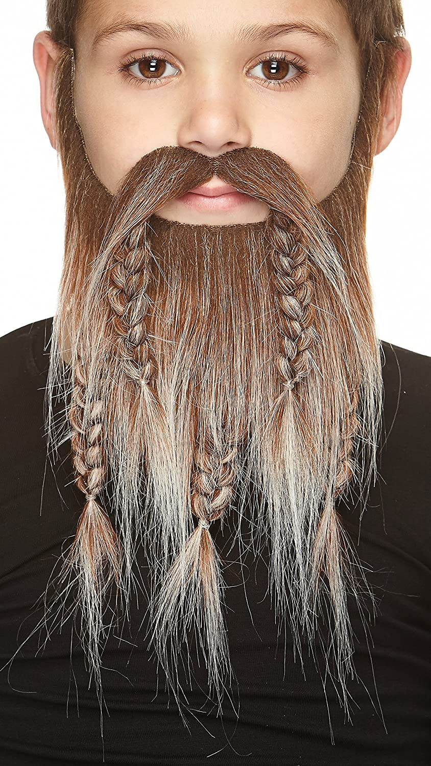 Mustaches Self Adhesive, Novelty, Fake, Small Viking Dwarf Beard Brown with Gray Color