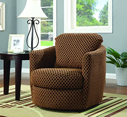 amazon com coaster casual brown upholstered swivel accent chair