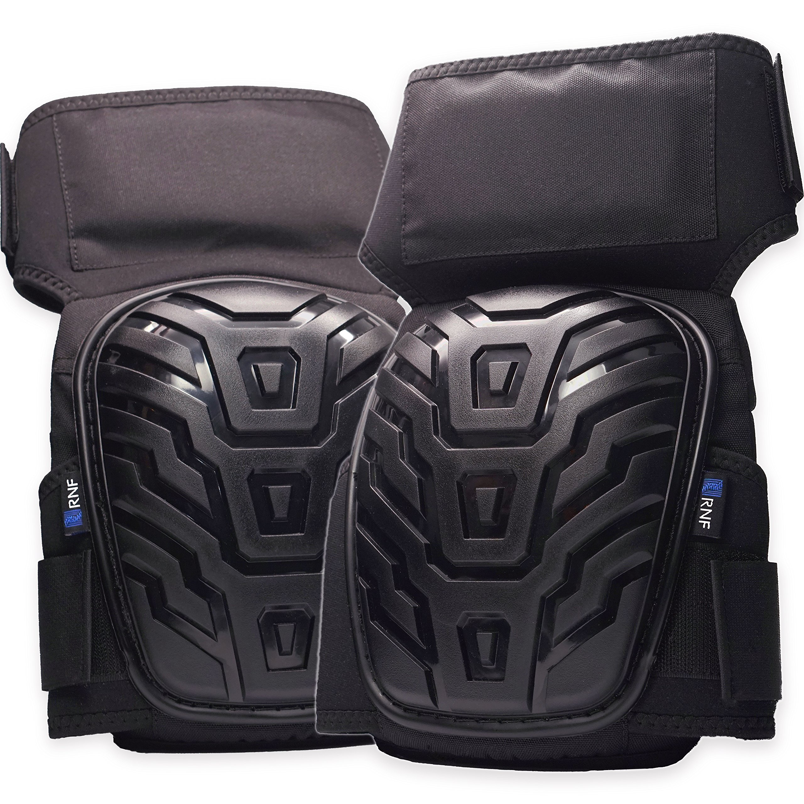 RNF Professional Knee Pads - Durable Thigh Straps. Stays in position while you Work - Comfortable foam padding and gel cushion. Easy-to-use Velcro strap fits Men & Women