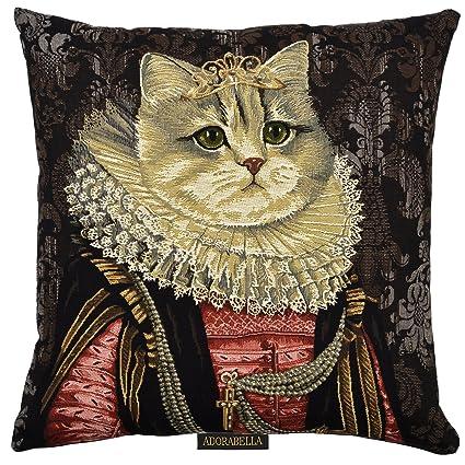 ADORABELLA Royal Cats Collection   Jacquard Tapestry Woven Home Decor  Pillow U2013 ELIZABETH (Ruffle)