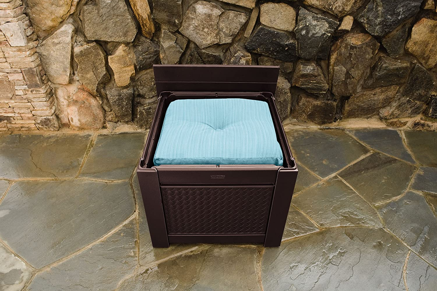 Amazon.com: Rubbermaid Cube Patio Chic Outdoor Storage, Dark Teak Basket  Weave: Garden U0026 Outdoor