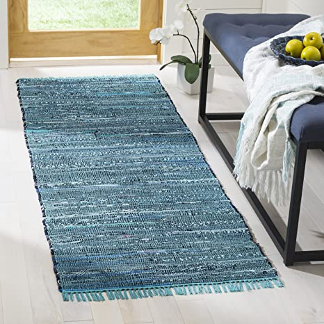 5dec7c3159 Image Unavailable. Image not available for. Color: Safavieh Rag Rug  Collection RAR121B Hand Woven Blue and Multi Cotton Runner (2'3""