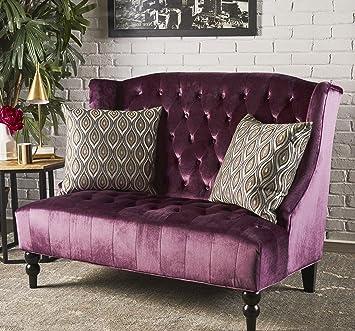 Astonishing Amazon Com Large Loveseat Chair In Purple Soft Velvet Lamtechconsult Wood Chair Design Ideas Lamtechconsultcom