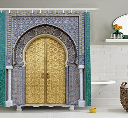 Ambesonne Moroccan Decor Shower Curtain Set Antique Doors Morocco Gold Doorknob Ornamental Carved Intricate