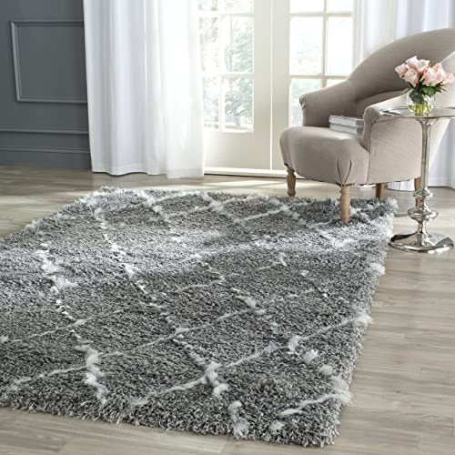 Safavieh Moroccan Shag Collection MSG343B Grey and Ivory Area Rug 4 x 6