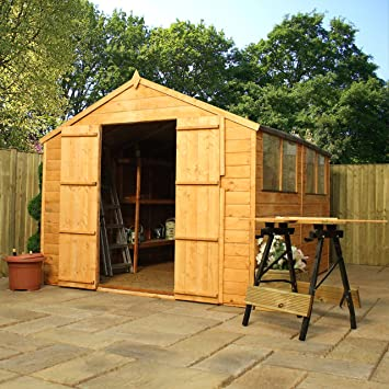 Oxford 10ft X 8ft Tongue Groove Apex Shed With Double Doors 10mm