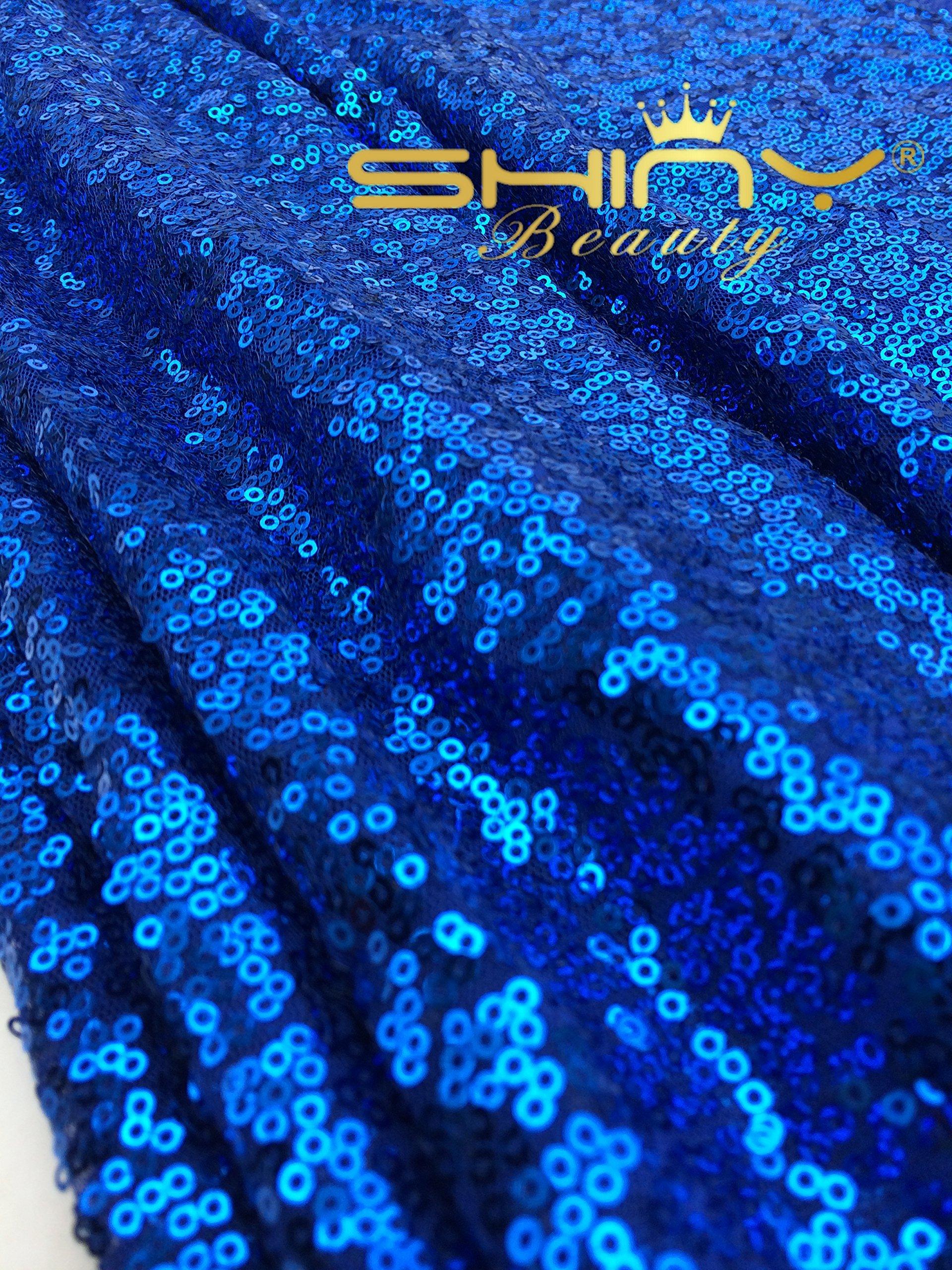 ShinyBeauty 45 Feet 15 Yards Royal Blue Sequin Fabric for Custom Carpet/Tablecloth/Backdrop/Cloth (Royal Blue) by ShinyBeauty