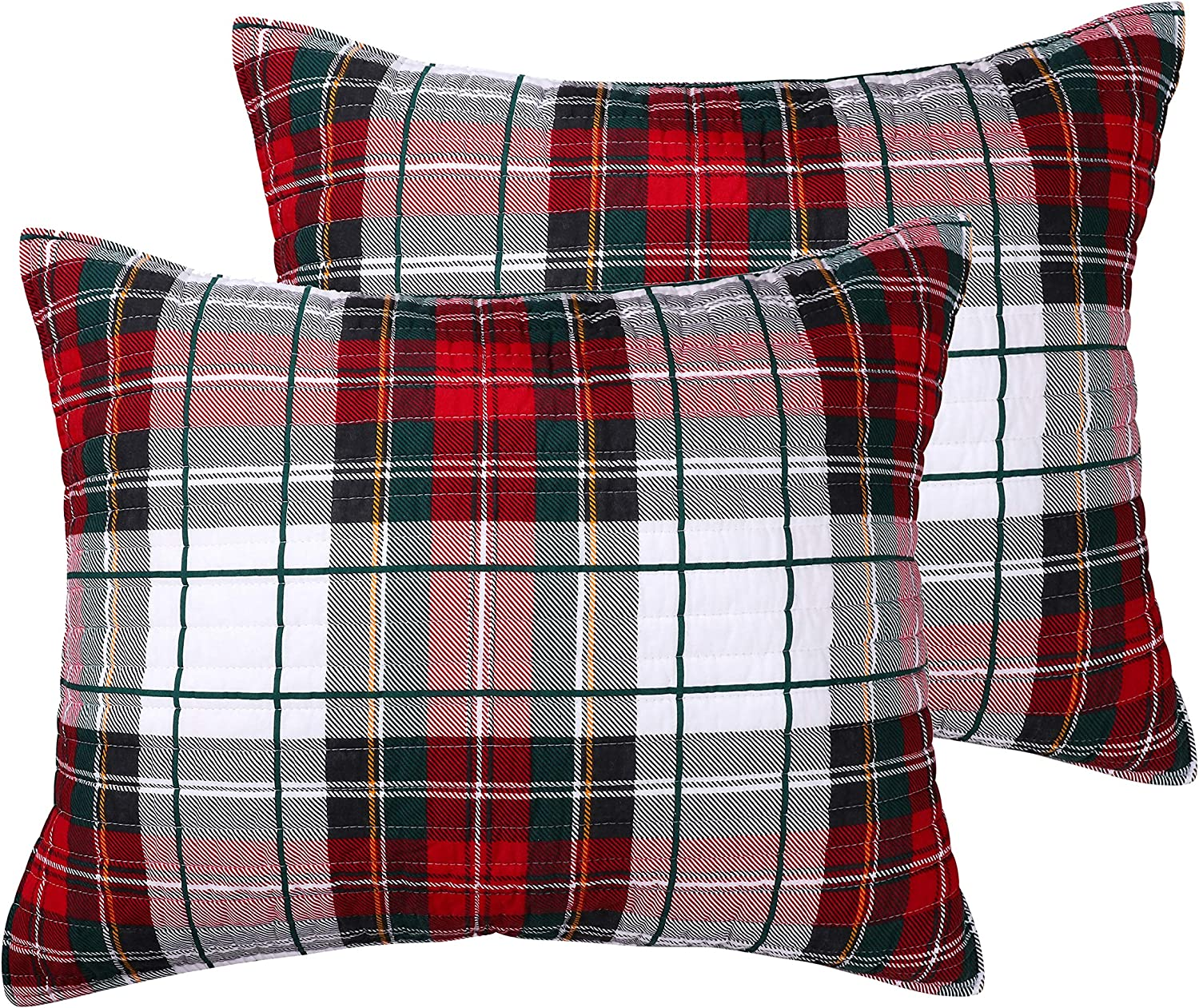 26x20in. Levtex home Thatch Home Spencer Plaid Spencer Plaid Quilted Standard Sham Pack of 2 Cotton//Poly - Reversible