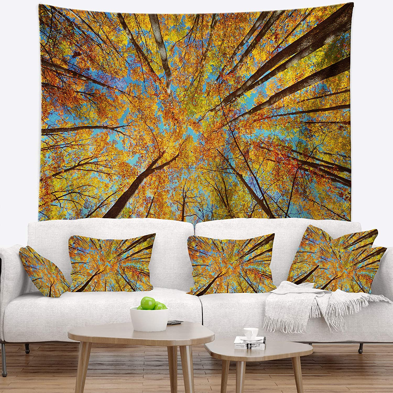 Created On Lightweight Polyester Fabric X 32 In Designart Tap8315 39 32 Tree Tops In Autumn Forest Blanket Décor Art For Home And Office Wall Tapestry Medium 39 In