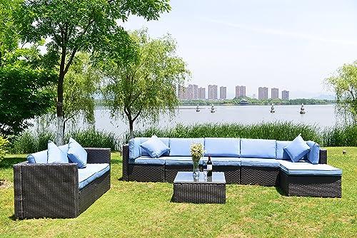 GOJOOASIS Patio Furniture Sets Outdoor Wicker Sectional Sofa Set