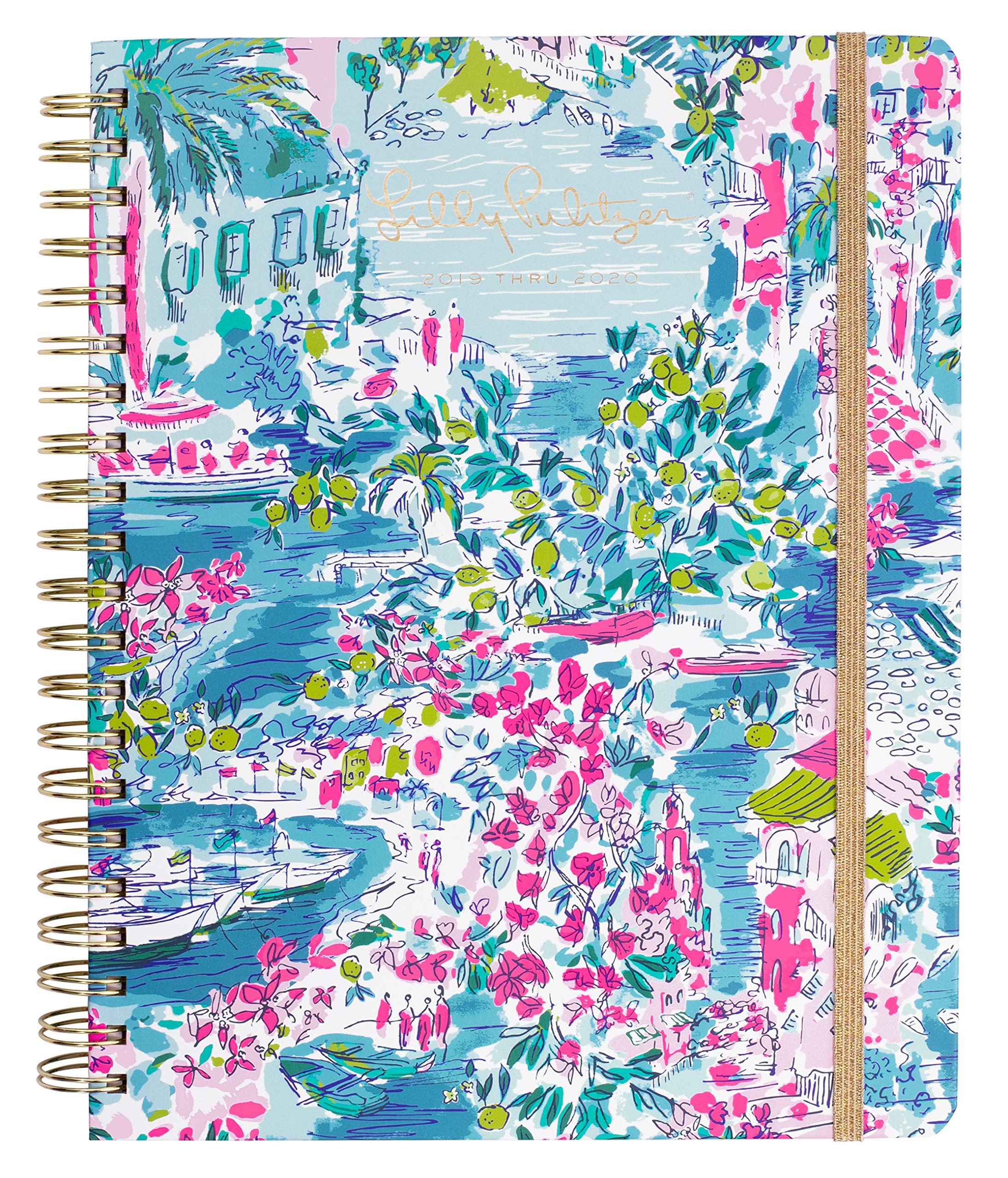 Lilly Pulitzer Jumbo 17 Month Hardcover Agenda, 11.13'' x 8.63'' Personal Planner with Monthly & Weekly Spreads for Aug. 2019 - Dec. 2020, Postcards from Positano
