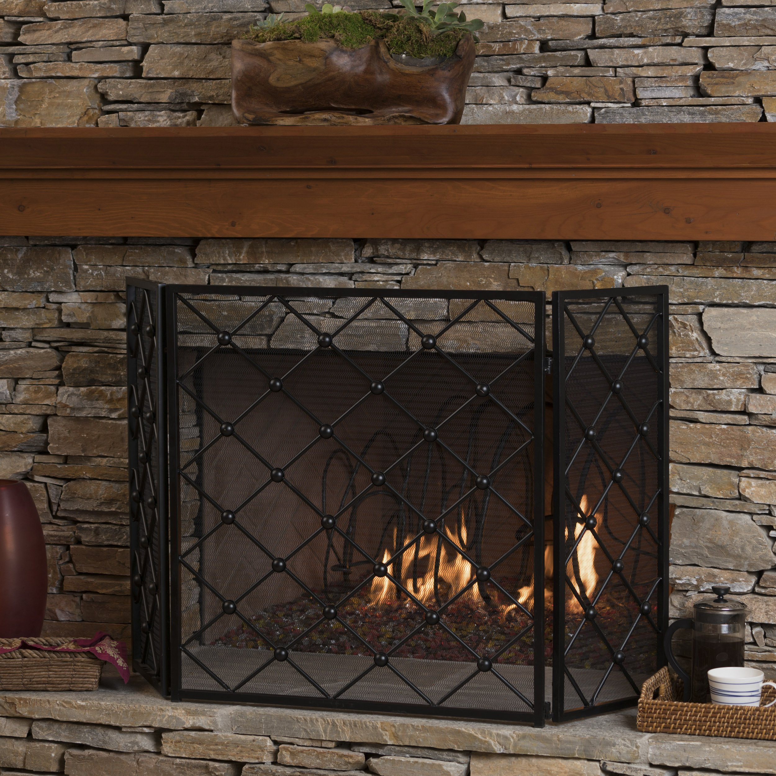Christopher Knight Home Chamberlain 3 Panelled Black Iron Fireplace Screen by Christopher Knight Home