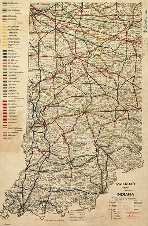 Amazon.com: Mapa cartel – Railroad Mapa de Indiana. – 24