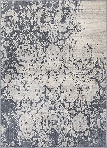 Well Woven Pearl Ora Modern Vintage Distressed Dark Grey Soft Area Rug 3'11″ x 5'3″