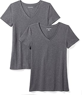 236e142a99 Amazon Essentials Women's 2-Pack Classic-Fit Short-Sleeve V-Neck T
